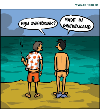 Cartoon De Griekse Crisis Raakt Maar Niet Uit Het Slop